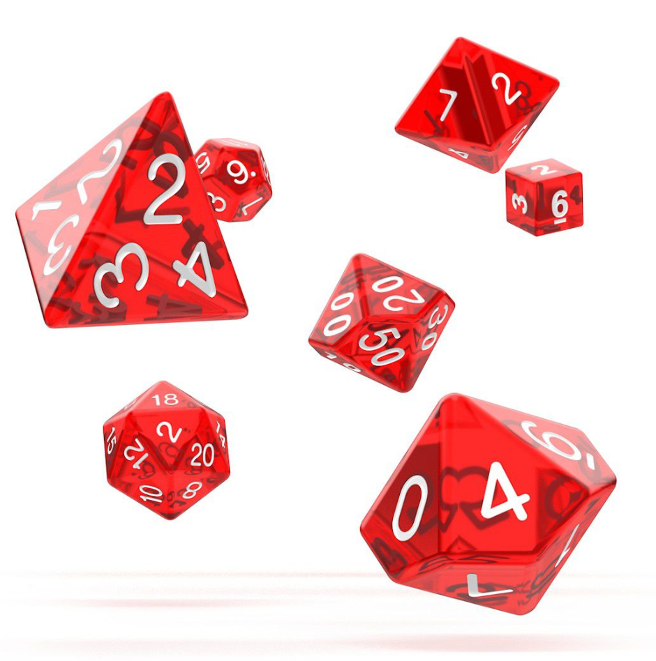 Oakie Doakie Dice RPG Set Translucent (7) RED