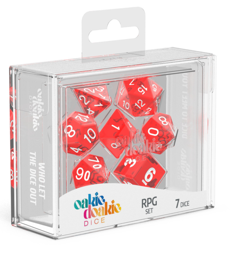 Oakie Doakie Dice RPG Set Translucent (7) RED | Affinity Games