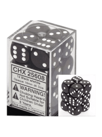 Chessex 12 Black /white Opaque 16mm D6 Dice Block - CHX25608