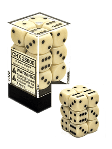 Chessex 12 Ivory w/black 16mm D6 Dice Block - CHX25600