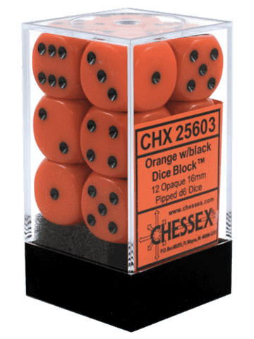 Chessex 12 Orange w/black Opaque 16mm D6 Dice Block - CHX25603
