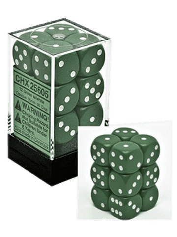 Chessex 12 Green w/white Opaque 16mm D6 Dice Block - CHX25605