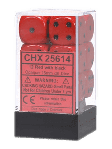 Chessex 12 Red / Black Opaque 16mm D6 Dice Block - CHX25614