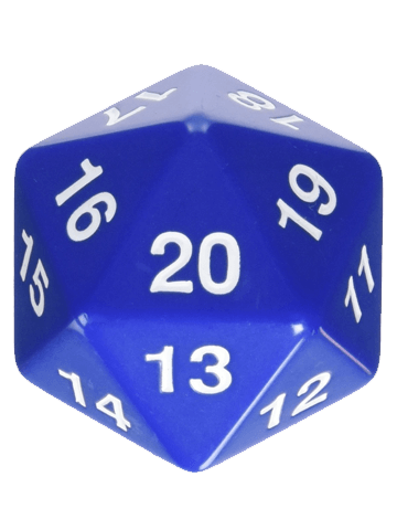 Opaque: 55mm D20 Countdown Blue/White
