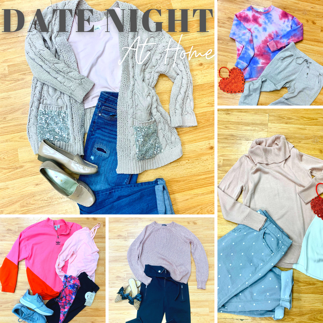 Date Night at home outfit ideas collage