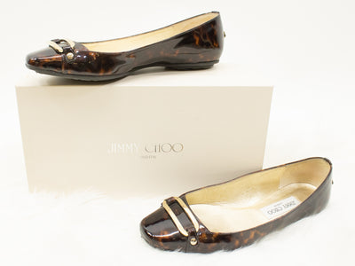 Jimmy Choo Black Brown Size 37.5 Shoe Flat