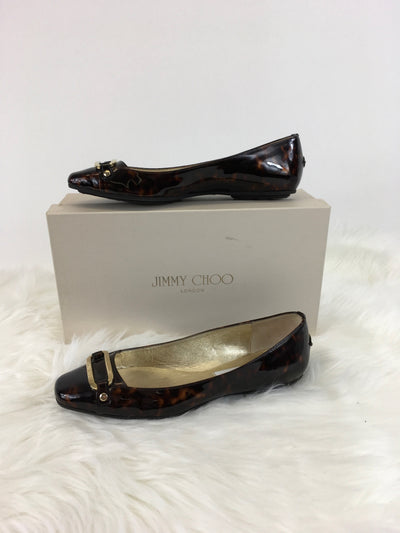 Size 37.5 Brown Print Jimmy Choo DESIGNER Shoe