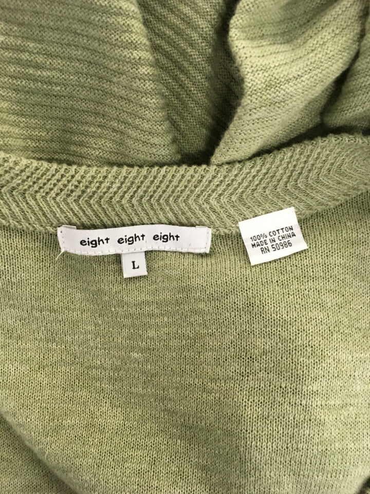 Size L Sage Green Eight Eight Eight Sweater-Cardigan