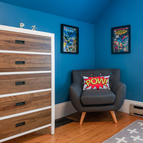 boo and rook tween boys room e-design super hero red, blue, white, serena and lily wallpaper