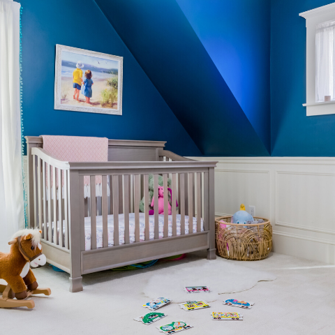 boo and rook navy blue baby girl nursery two-tone walls