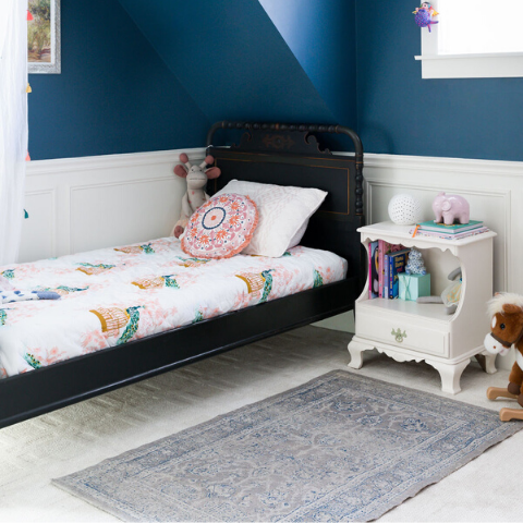 boo and rook little girls room e-design navy blue two tone walls