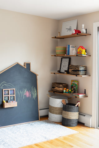Boo & Rook playroom, family room design pale oak benjamin moore gender neutral nursery colors that are classic and modern