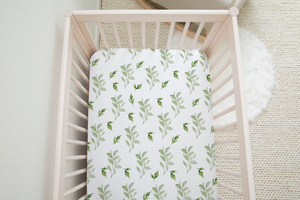 boo and rook green leaves pattern gender neutral baby blanket, nursery decor