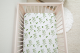 boo and rook green leaves pattern gender neutral crib sheet, nursery decor