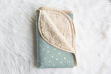 boo and rook, winter stars baby bedding, holiday collection, crib sheets, newborn sherpa blanket, toddler minky blanket