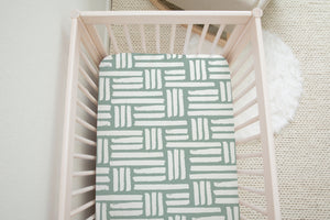 Boo and Rook checkered stripes crib sheet bluegreen white stripes gender neutral nursery decor baby shower gift fabric