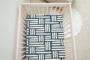 boo and rook checkered stripe crib sheet, gender neutral nursery decor navy blue and white baby shower gift
