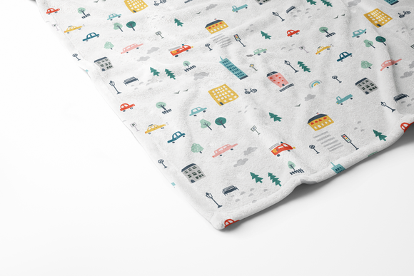 boo and rook city life collection featuring a whimsical and colorful depiction of items you would find in a city, cars, buildings lights trees houses, baby blanket minky and sherpa