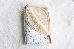 boo and rook city life collection baby blanket minky sherpa, gender neutral nursery decor