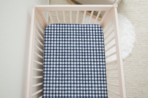 boo and rook navy buffalo check gender neutral crib sheet, gender neutral nursery decor