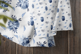 Blue Floral Bouquet Crib Sheet