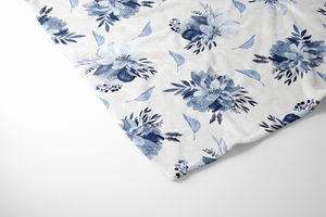 boo and rook blue floral bouquet baby blanket, sherpa and minky, baby girl blue and white nursery decor