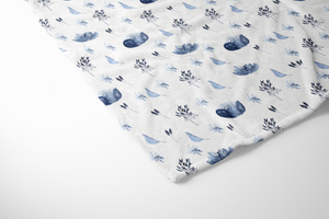 boo and rook blue bouquet baby blanket, sherpa and minky, baby girl blue and white nursery decor