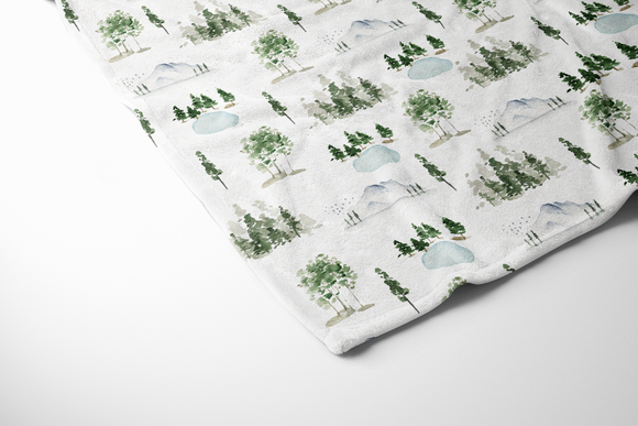boo and rook forest minky baby blanket, baby boy nursery, outdoor theme nursery decor