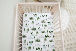 boo and rook watercolor forest trees lakes mountains outdoor baby boy nursery decor crib sheets baby blankets baby shower gift
