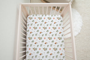 boo and rook citrus collection crib sheet, gender neutral nursery decor