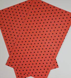 Dots Red/Black Faux Leather Single Sheet - Craft Station Shop