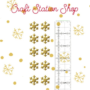 Flat Back 53  Non Woven Gold Snowflakes Glitter