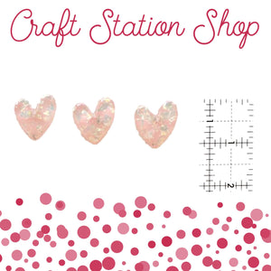 Resin 371 Light Pink Heart/ Silver Flakes