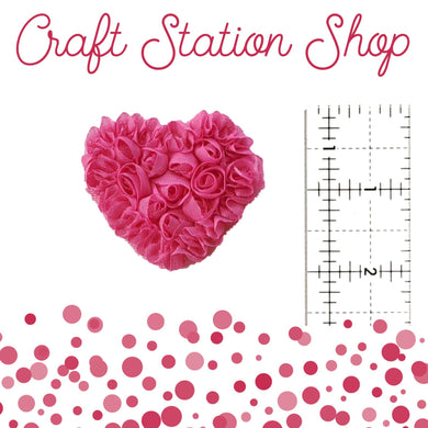 Shabby Heart Applique - Hot Pink Small