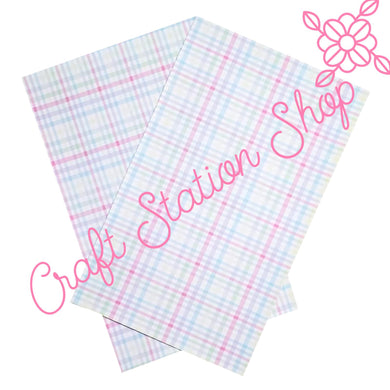 Pastel  Plaid / Single Faux Leather Sheet