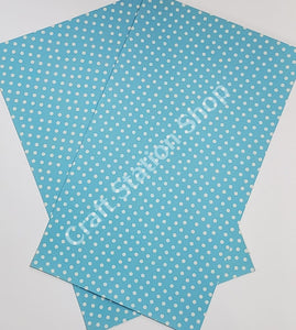 Dots Bright Blue / White Faux Leather Single Sheet - Craft Station Shop