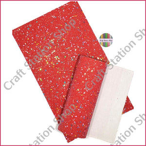 Chunky Glitter Sequins Faux Leather Single Sheet - Craft Station Shop