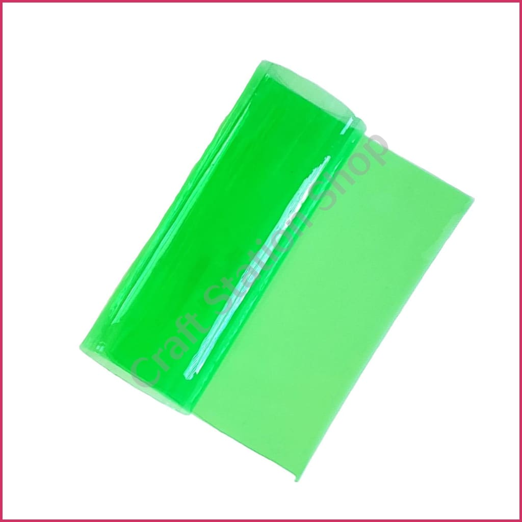 Clear Faux Leather – Solid Transparent Green Color - Craft Station Shop