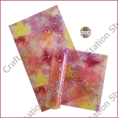 Clear Pink Purple & Yellow/ Silver Stars