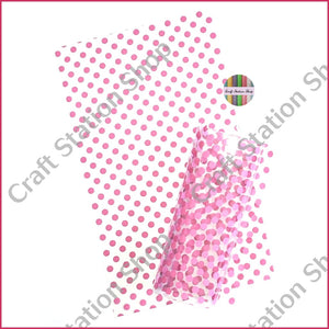 Clear Synthetic Leather - pink dots - Craft Station Shop
