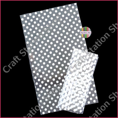 Clear Synthetic Leather - white dots - Craft Station Shop