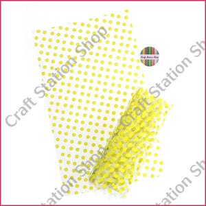 Clear Synthetic Leather - Yellow dots - Craft Station Shop