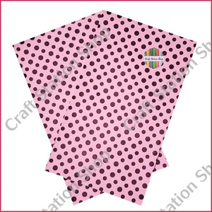 Dots Big & Small Pink / Brown Faux Leather Single Sheet