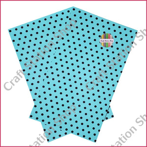 Dots Blue / Black Faux Leather Single Sheet