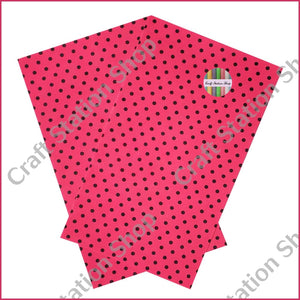 Dots Fuschia / Black Faux Leather Single Sheet