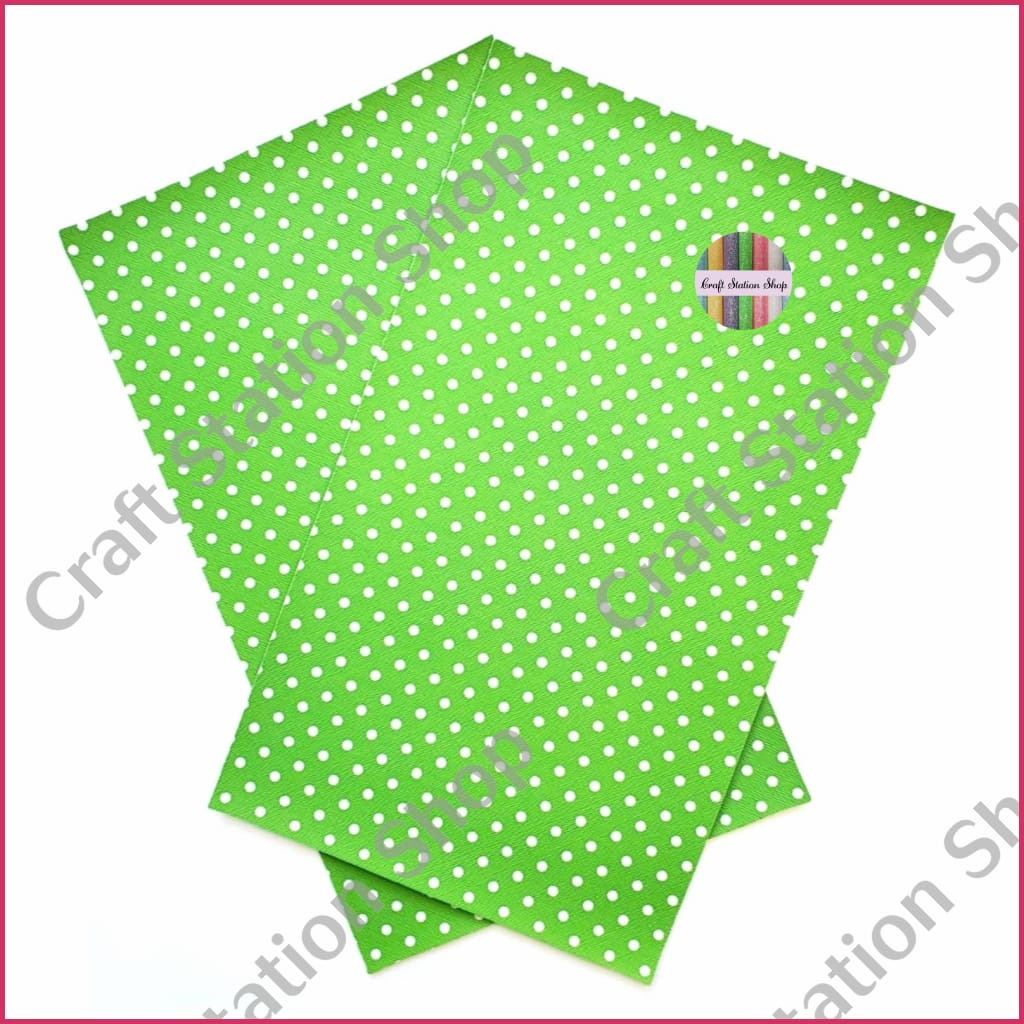 Dots - Green/ White Faux Leather Single Sheet