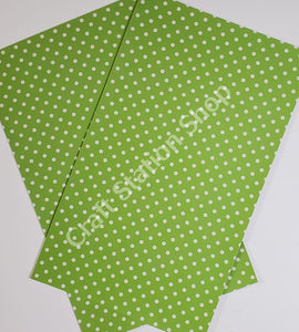 Dots Green/ White Faux Leather Single Sheet - Craft Station Shop