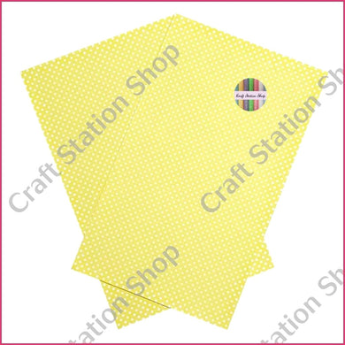 Dots - Lemon Yellow / White Faux Leather Single Sheet