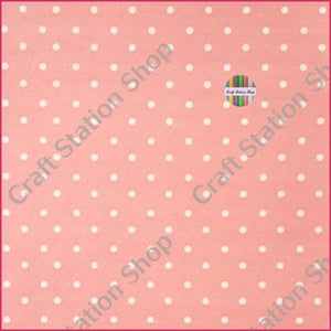 Dots Light Coral/White Faux Leather Single Sheet - Craft Station Shop