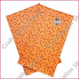 Dots - Orange / Black White Faux Leather Single Sheet